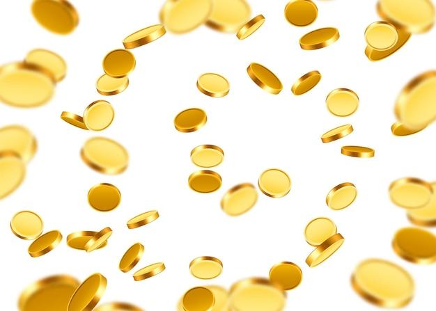 Realistische gouden munten explosie. geïsoleerd geïsoleerd.