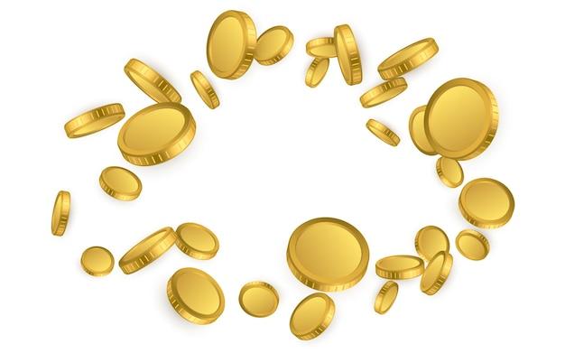 Realistische gouden munten explosie geïsoleerd op een witte achtergrond.