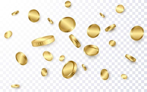 Realistische gouden munten explosie geïsoleerd op transparante achtergrond.
