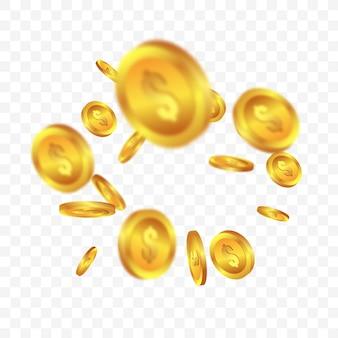 Realistische gouden munten jackpot of casino poker Premium Vector