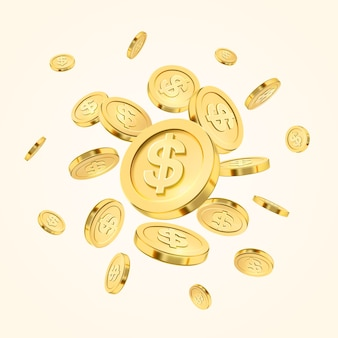 Realistische gouden muntstukexplosie of plons op witte achtergrond.