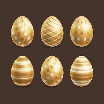 Realistische gouden paasei-collectie