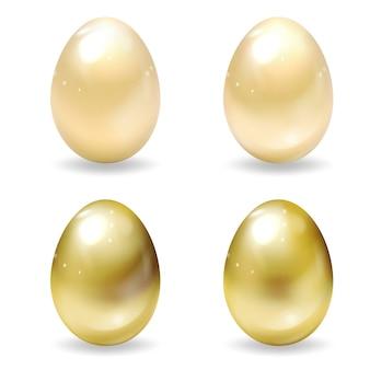 Realistische gouden paaseieren. set van gouden 3d-eieren