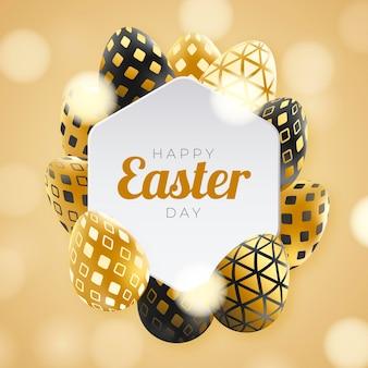 Realistische gouden pasen-illustratie met eieren Gratis Vector