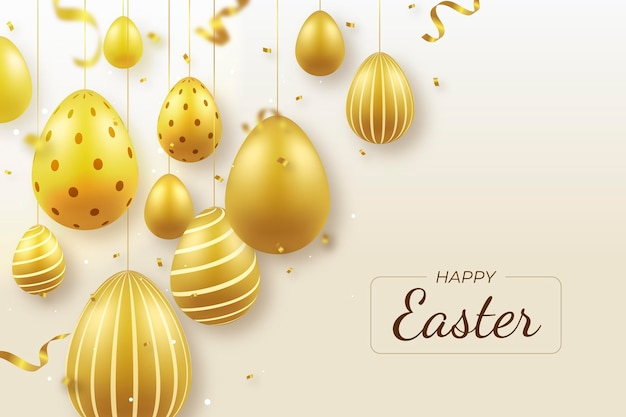 Realistische gouden pasen-illustratie met eieren
