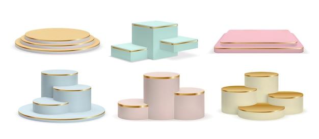 Realistische gouden podia, cilindersokkels en displayplatforms. luxe product 3d-showroom in pastelkleuren met gouden trappen vectorset