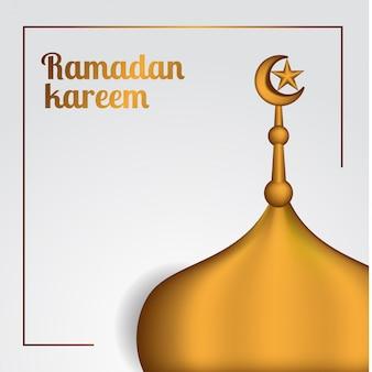 Realistische gouden ramadan dakmoskee