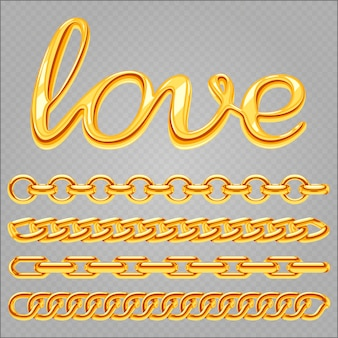 Realistische gouden sieradenketting set en liefde belettering