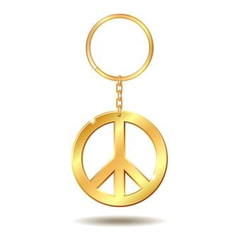 Realistische gouden sleutelhangers met vredessymbool op witte achtergrond. illustratie