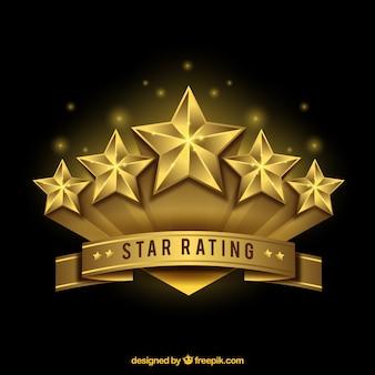 Realistische gouden ster rating ontwerp