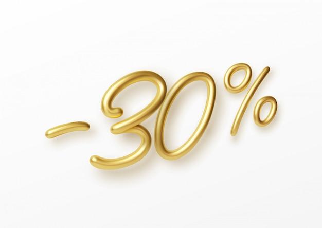 Realistische gouden tekst 30 procent kortingsnummer