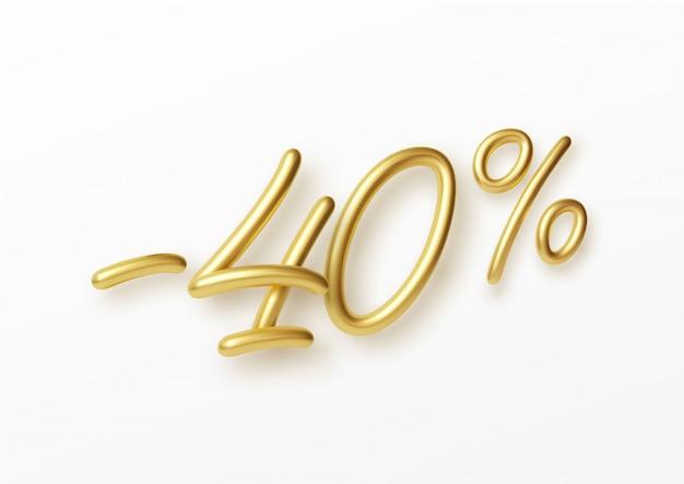 Realistische gouden tekst 40 procent kortingsnummer