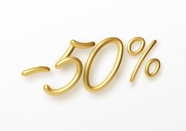 Realistische gouden tekst 50 procent kortingsnummer