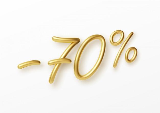 Realistische gouden tekst 70 procent kortingsnummer