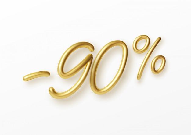 Realistische gouden tekst 90 procent kortingsnummer