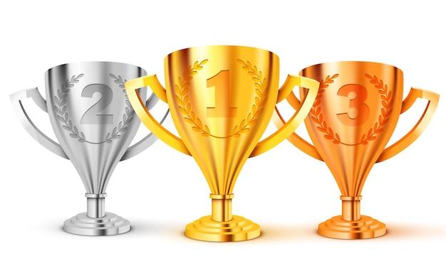 Realistische gouden trofee. eerste tweede en. derde plaats. goud, zilver en brons.