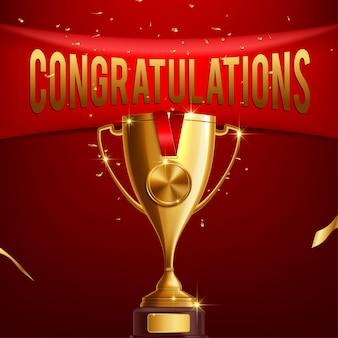 Realistische gouden trofee met felicitatiestekst