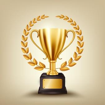 Realistische gouden trofee met gouden lauwerkrans