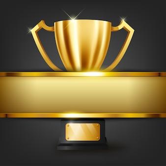 Realistische gouden trofee met tekst ruimte op gouden banner