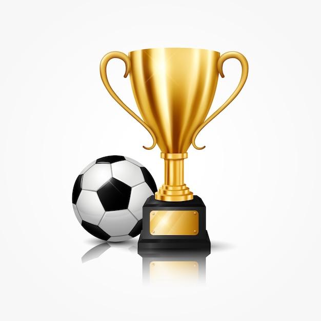 Realistische gouden trofee met voetbal