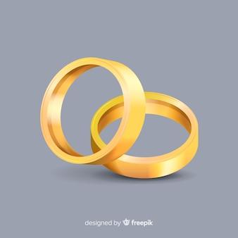 Realistische gouden trouwringen