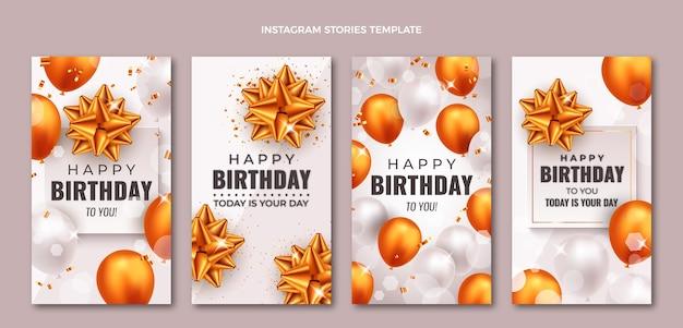 Realistische gouden verjaardag instagram-verhalen