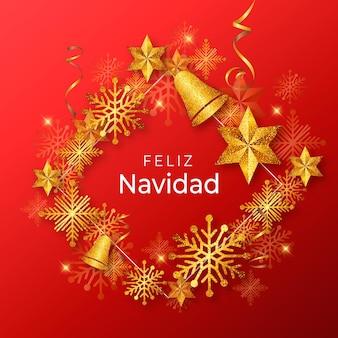 Realistische gouden vrolijk kerstfeest
