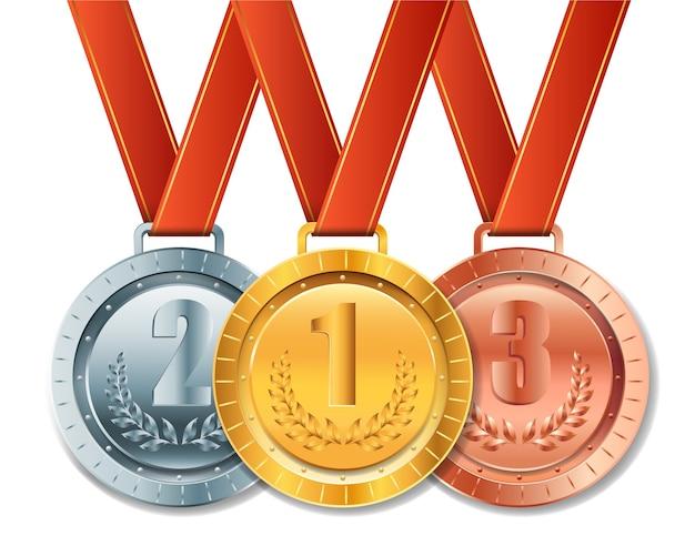 Realistische gouden, zilveren en bronzen medaille met rood lint