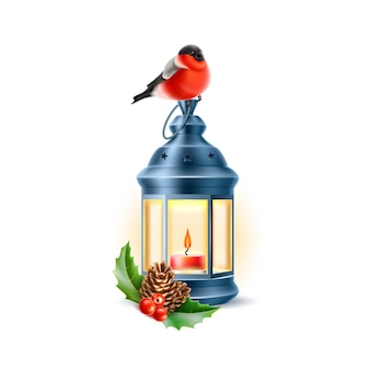 Realistische goudvinkvogel zittend op vintage kerosine lantaarn met vuren twijgen