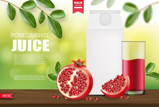 Realistische granaatappel, granaatappelsappakket, verpakking, flessensap en transparante glazen, aardachtergrond, banner