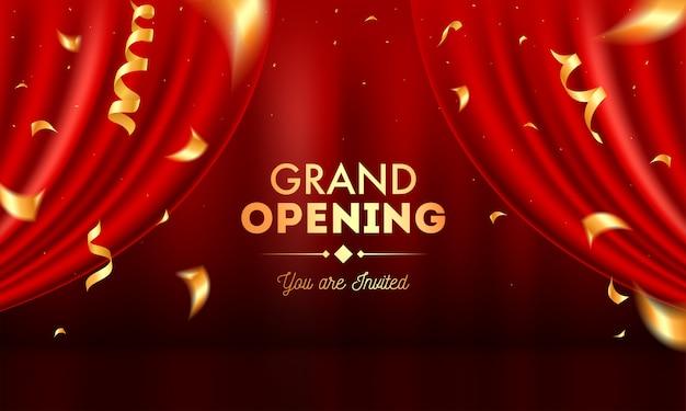 Realistische grand opening uitnodiging met rode gordijnen en gouden confetti.