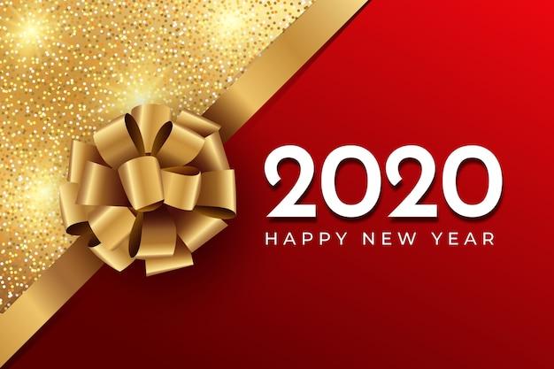 Realistische grappige nieuwe jaarachtergrond met boog en glitter