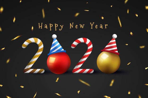 Realistische grappige nieuwe jaarachtergrond met confettien