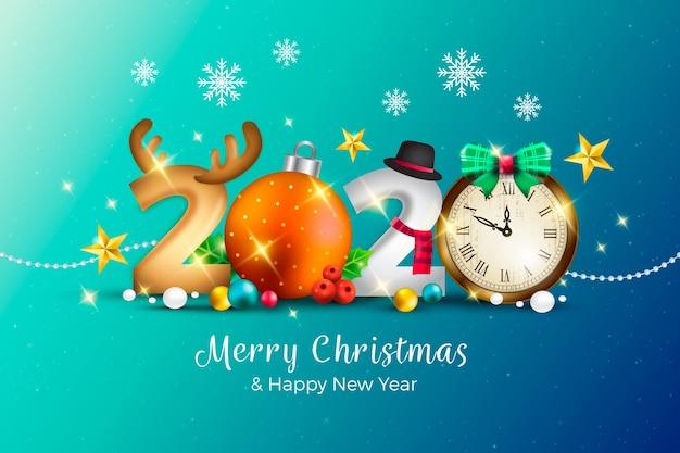 Realistische grappige nieuwe jaarachtergrond met vrolijke kerstmis