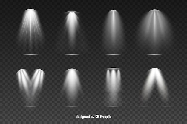 Realistische grijze scène verlichting collectie