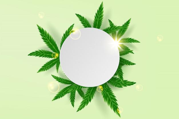 Realistische groene cannabis blad drug marihuana kruid achtergrond.