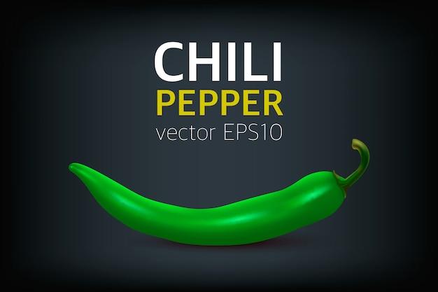 Realistische groene hete natuurlijke chili peper. ontwerpsjabloon