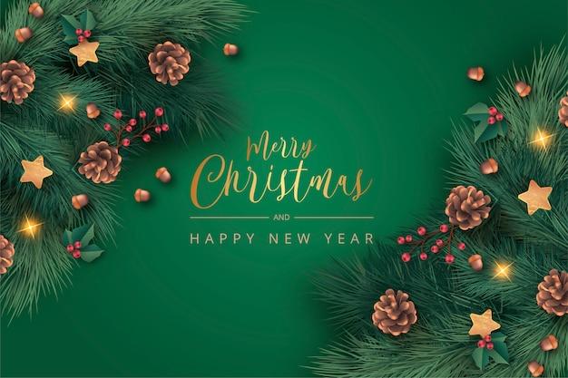 Realistische groene kerst achtergrond