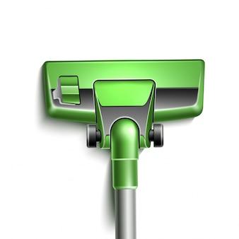 Realistische groene stofzuiger mondstuk close-up