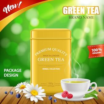Realistische groene thee blikken doos