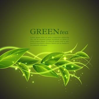 Realistische groene theeblaadjes met gloeiende golven. abstracte eco achtergrond