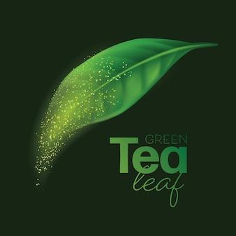 Realistische groene theeblaadjes