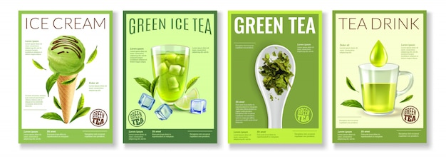Realistische groene theecollectie
