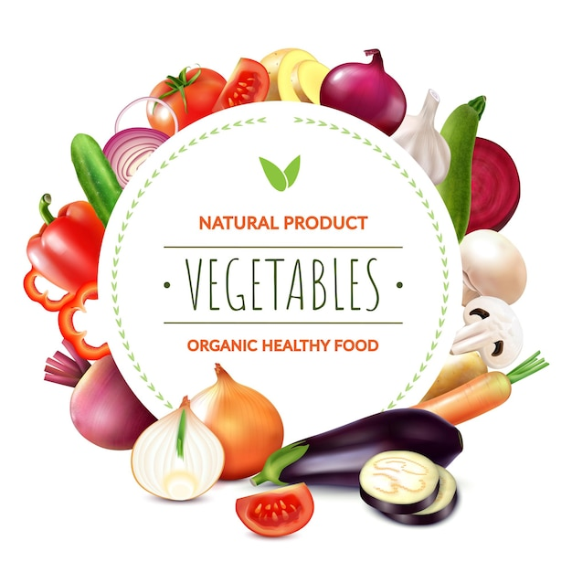 Realistische groenten ronde kadersamenstelling van bewerkbare sierlijke tekst en stukjes biologisch fruit en plakjes