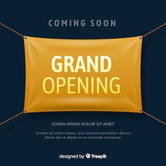 Realistische grootse opening poster met textiel banner