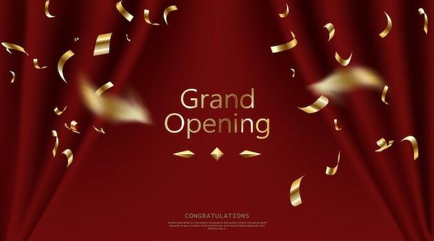 Realistische grootse openingsuitnodiging met rode gordijnen en gouden confetti