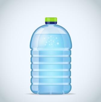 Realistische grote fles met schoon blauw water