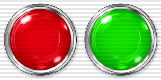 Realistische grote rode en groene transparante knop met metalen rand.