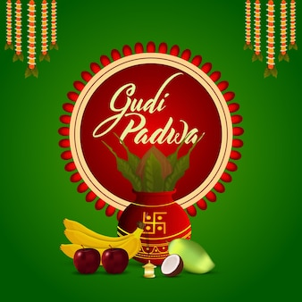 Realistische gudi padwa traditionele kalash met fruit en achtergrond