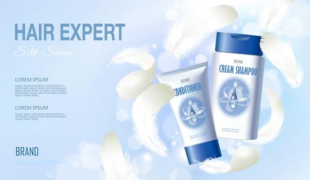 Realistische haarshampoo conditioner. tube container cosmetische licht. advertentie sjabloon